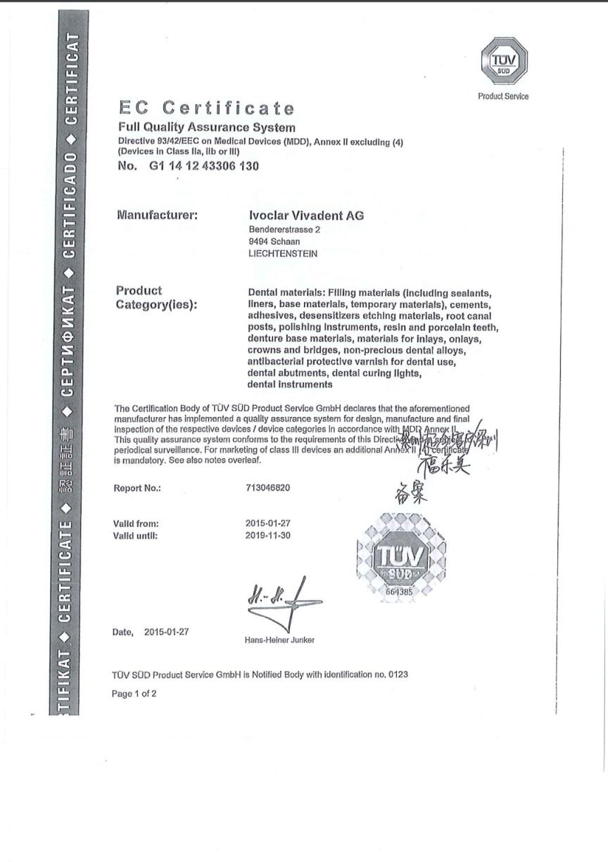 CE Certificate for Materils