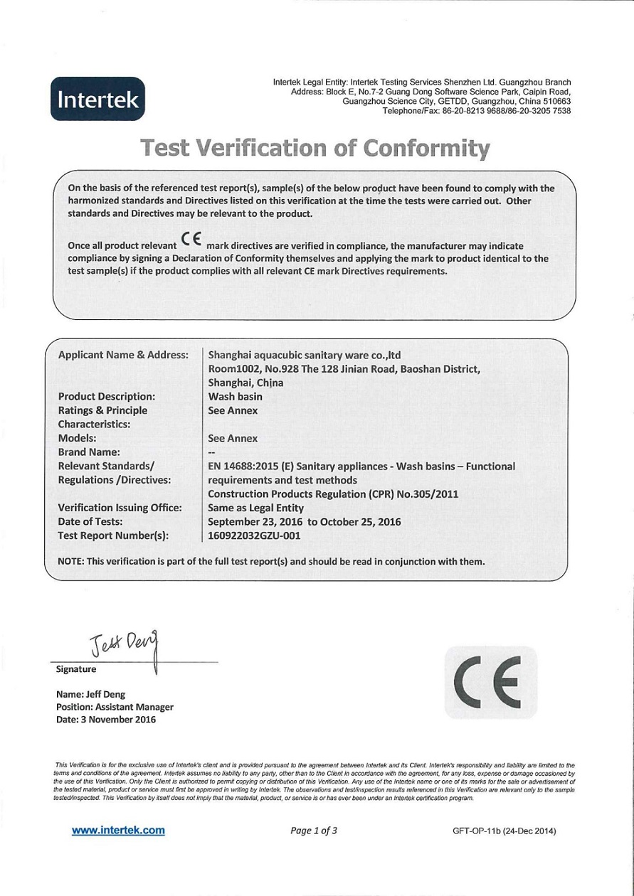 CE Certificates For Ceramic Basin