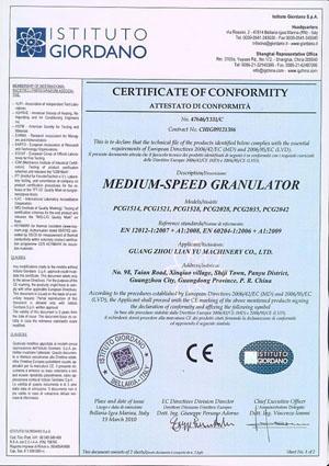 Medium-Speed Granulator CE Certificate