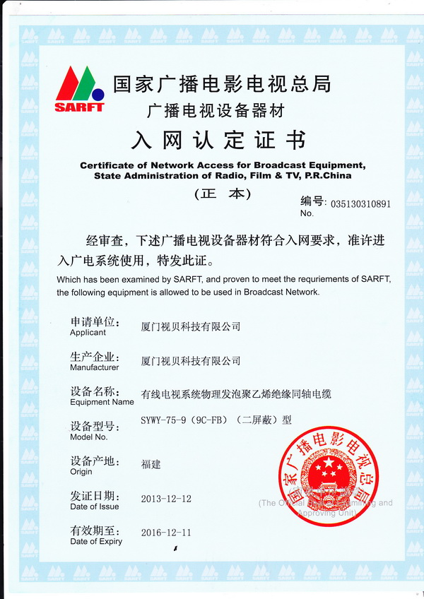 Certificate of network access