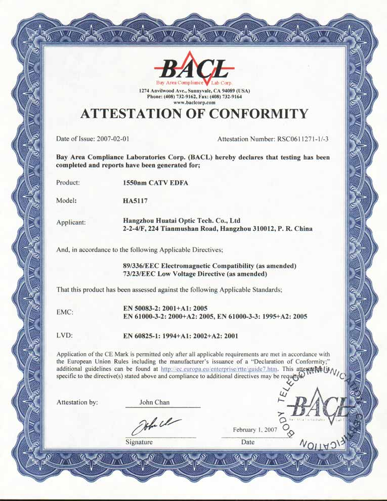 CE authentification certificate (HA5117)
