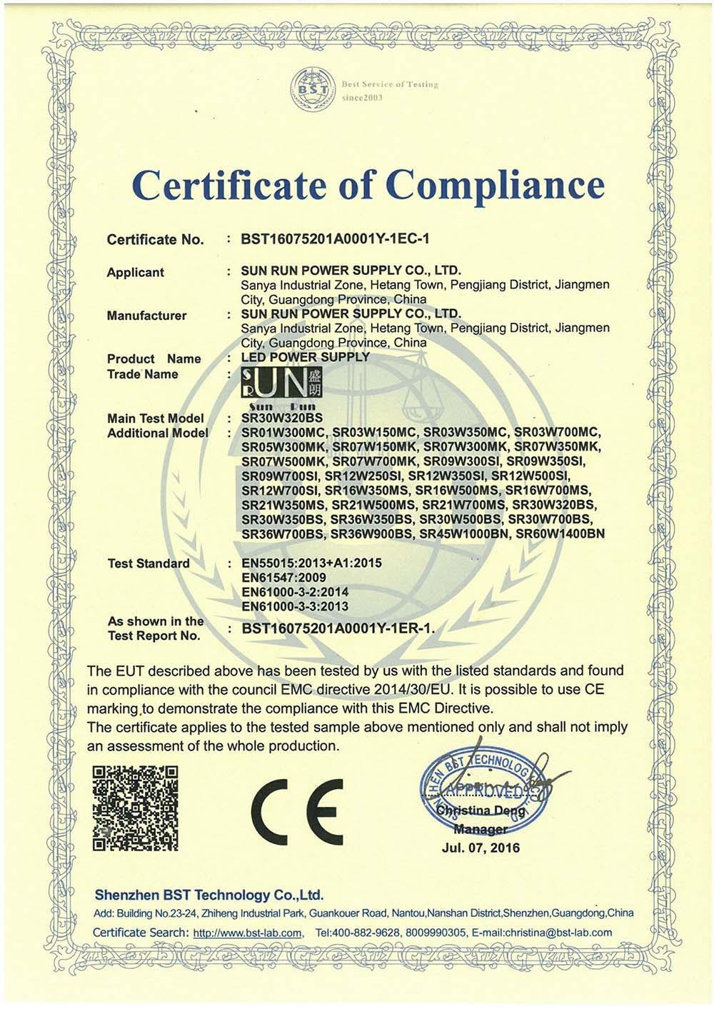 constant current 2016 CE certificates