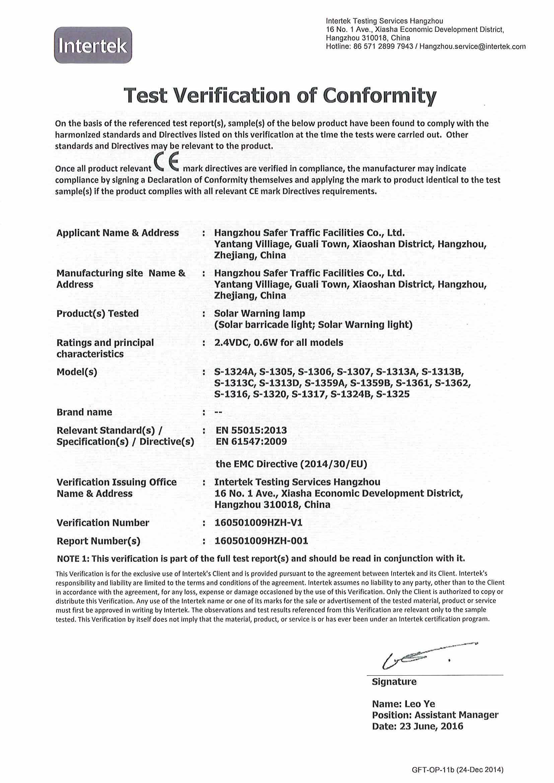 CE Certificate for solar warning light