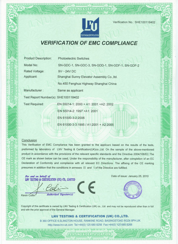 Verification of EMC compliance for photoelectric switches