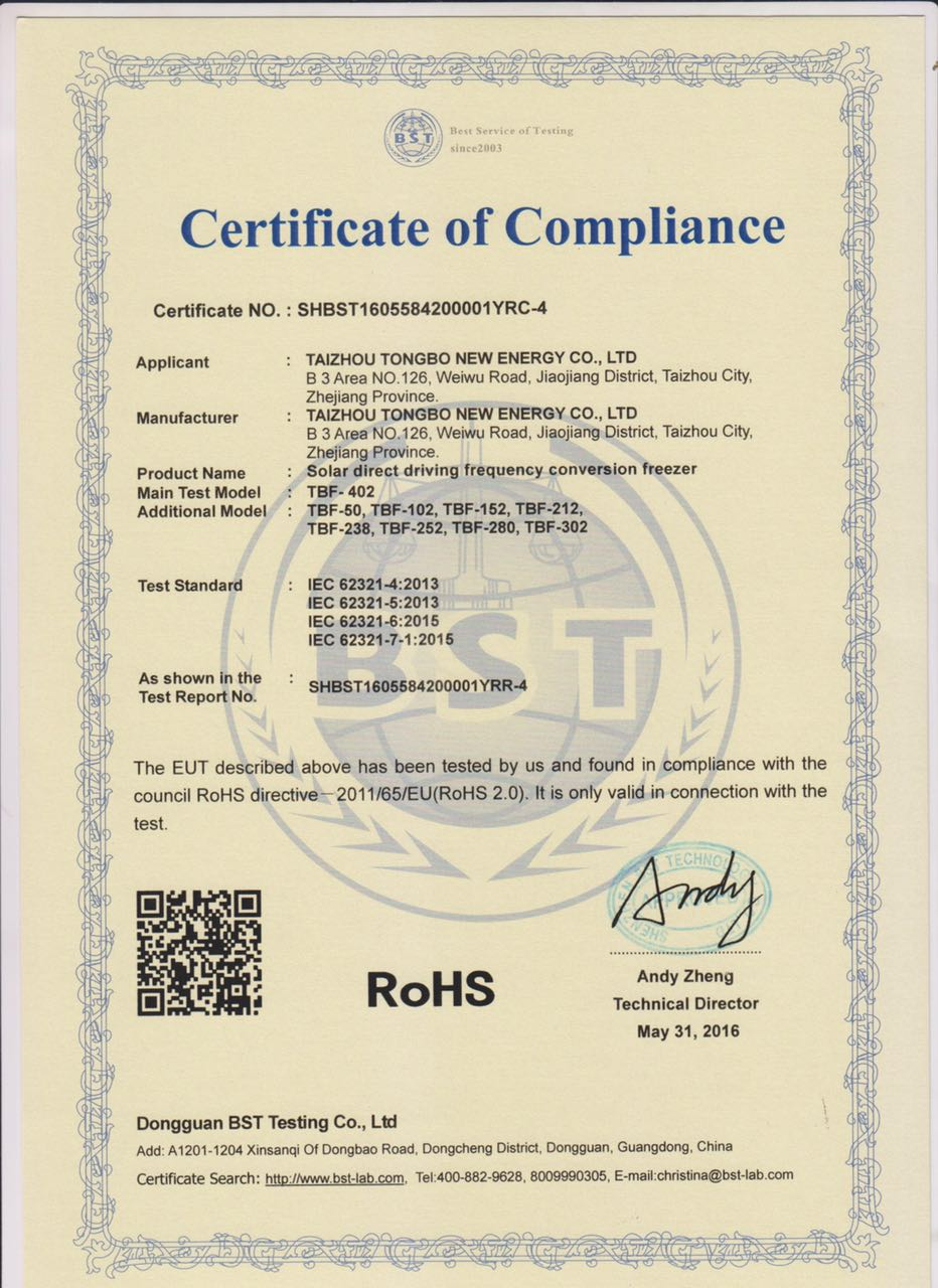 ROHS Certificate for Tongbo Solar Freezer