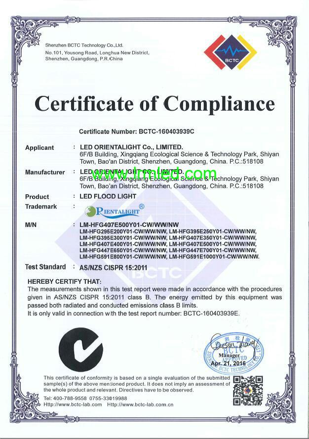 Certificates for LED Flood Light