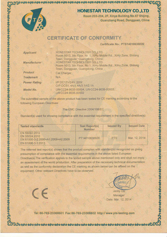 CE certificate of car charger