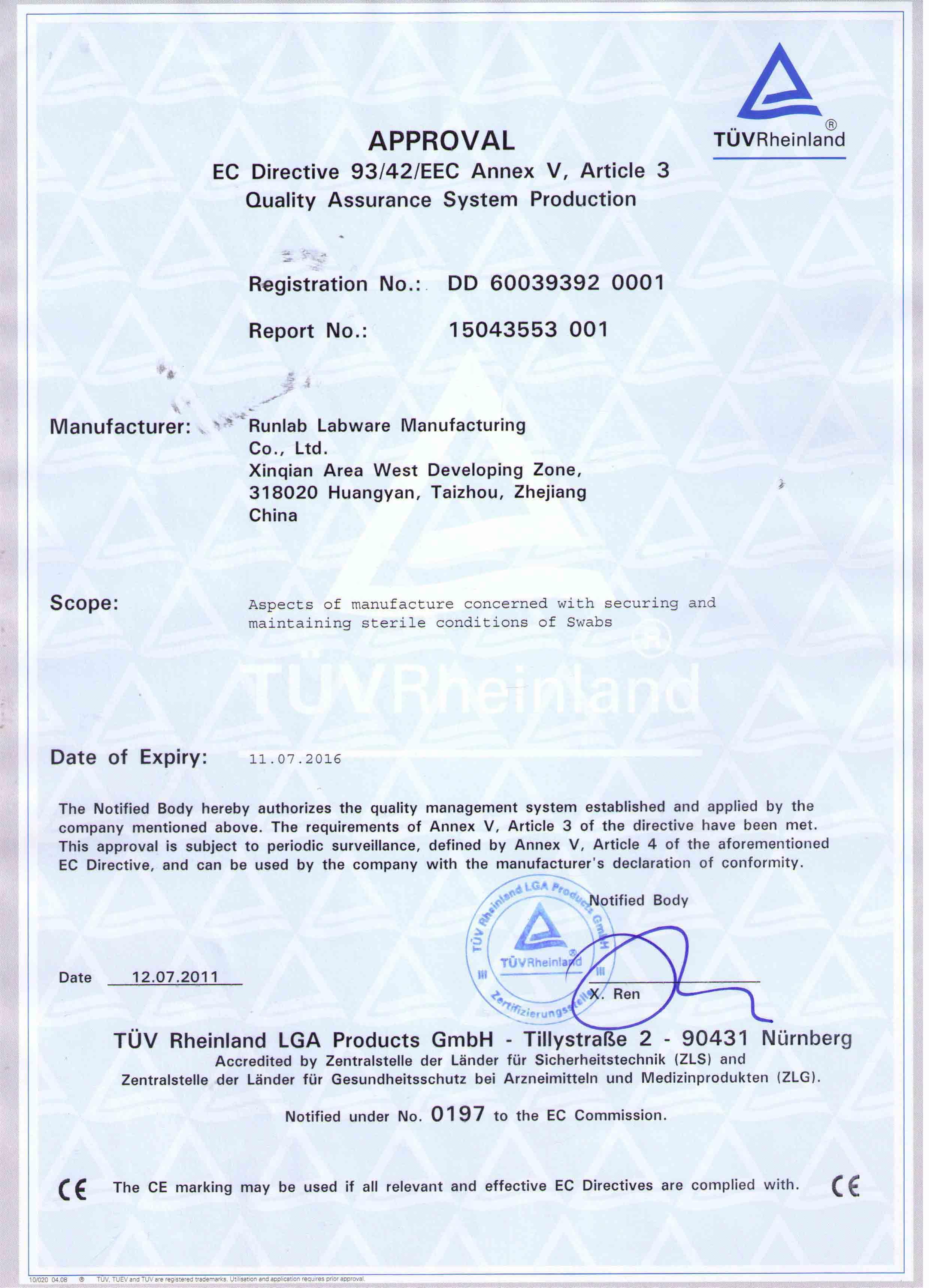 EC Directive 93/42EEC Certificate