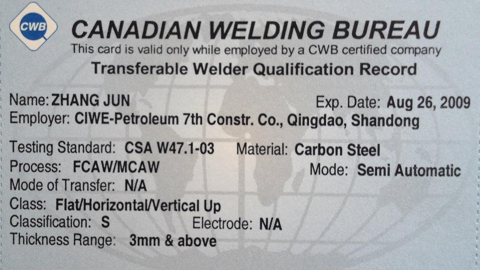 CWB welder certificated