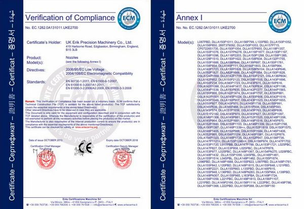 UK ERIKC CE Certificate
