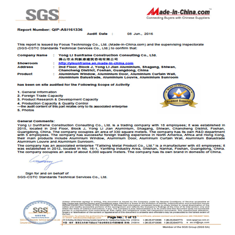 SGS Audited Report of Yongli Sunframe Construction Consulting Co,. Ltd