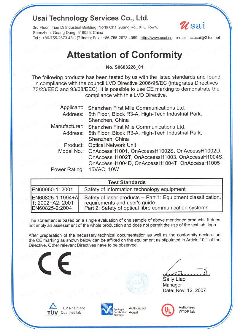 CE certificate ONU_OnAccessH100x_LVD