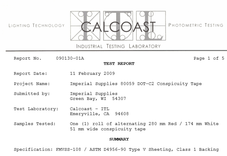 DOT-C2 Certificate for Conspicuity Tape