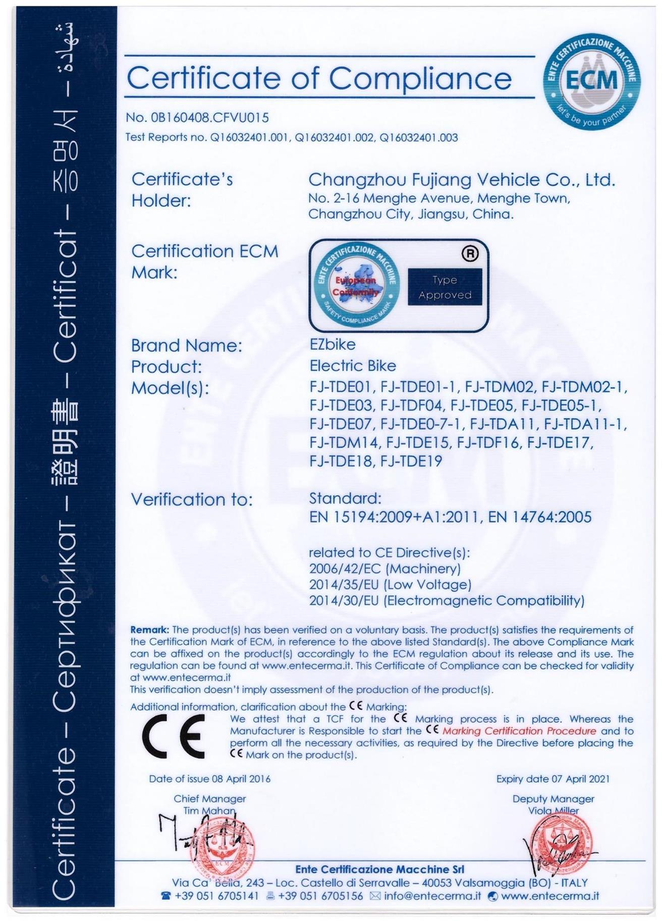 CE Certificate for Fujiang Electric Bike