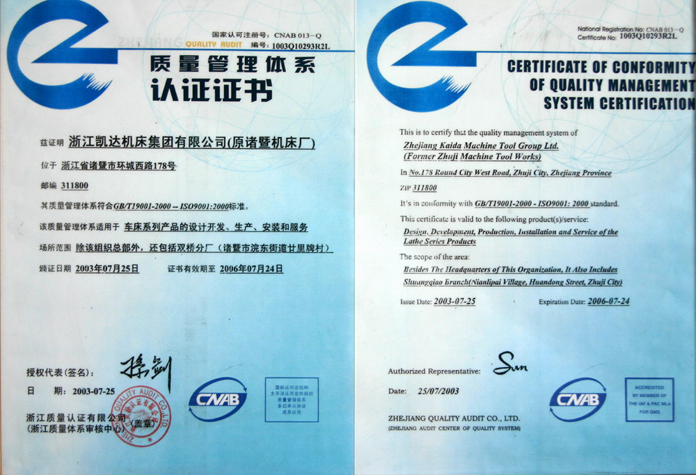 QUALITY MANAGEMENT CERTIFICATES