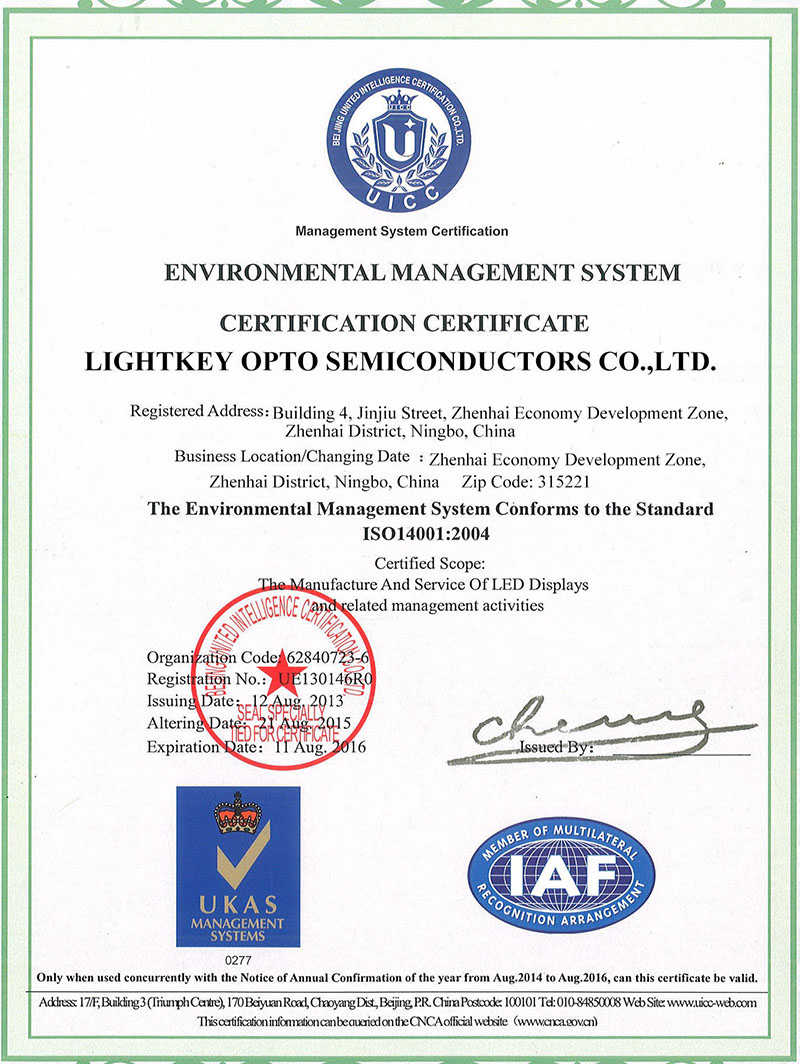 ISO14001 Certifcate for Lightkey LED