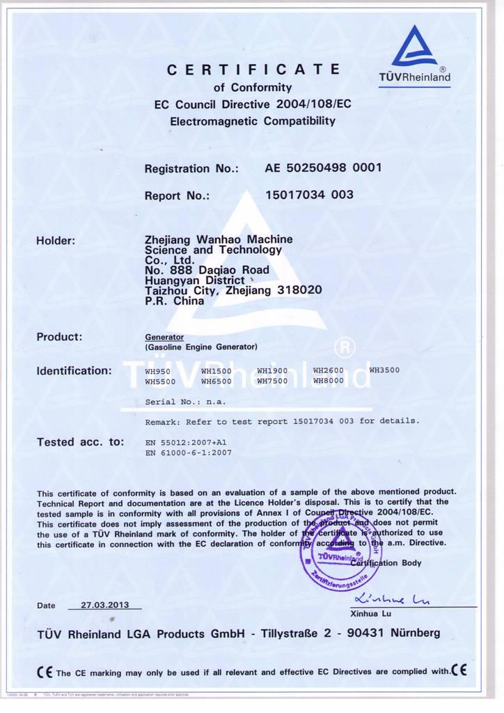CE certificate of gasoline generator