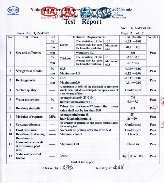 Test report for 40x40cm floor-2
