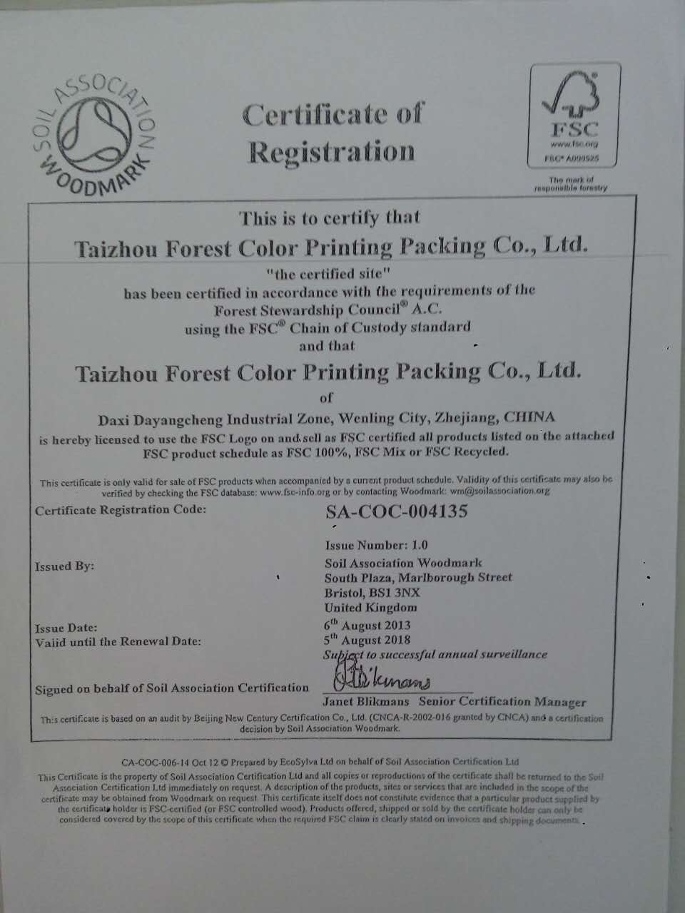 FSC Certificate 2