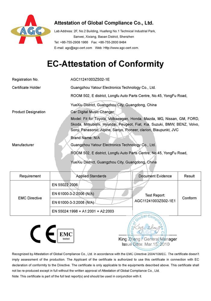 CE Certificate for Car Digital Music Changer