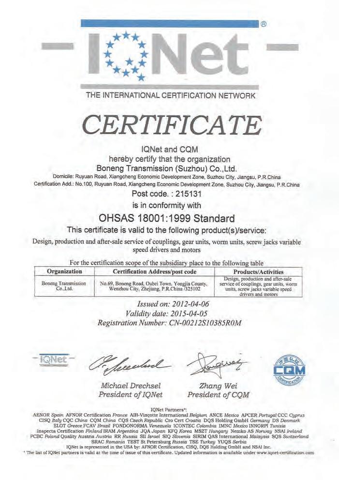 OHSAS 18001:1999 Standard