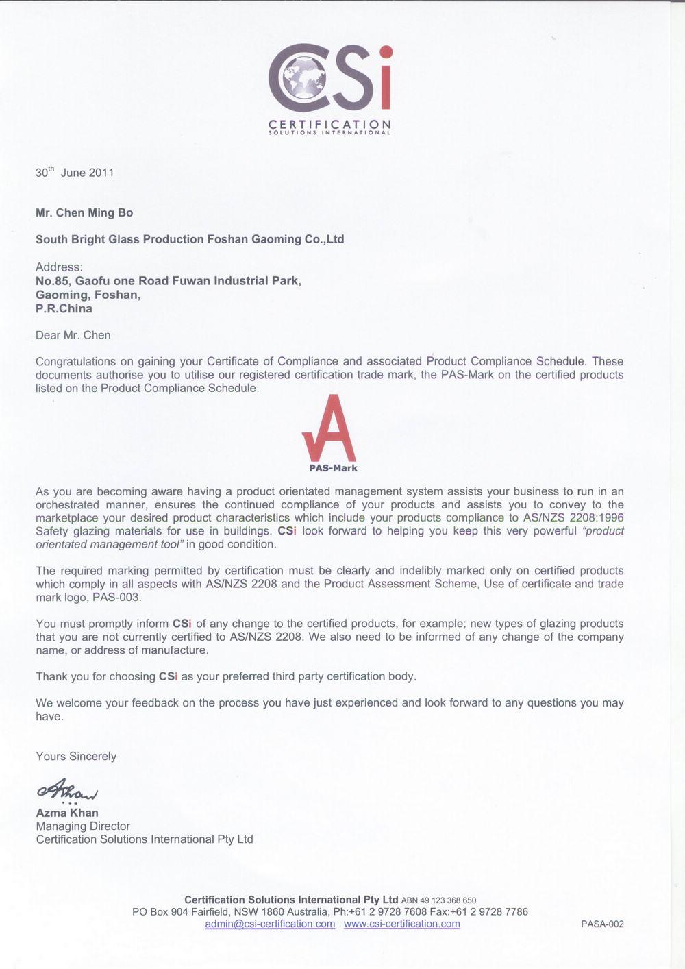Certification for Australia Standard of Glass01