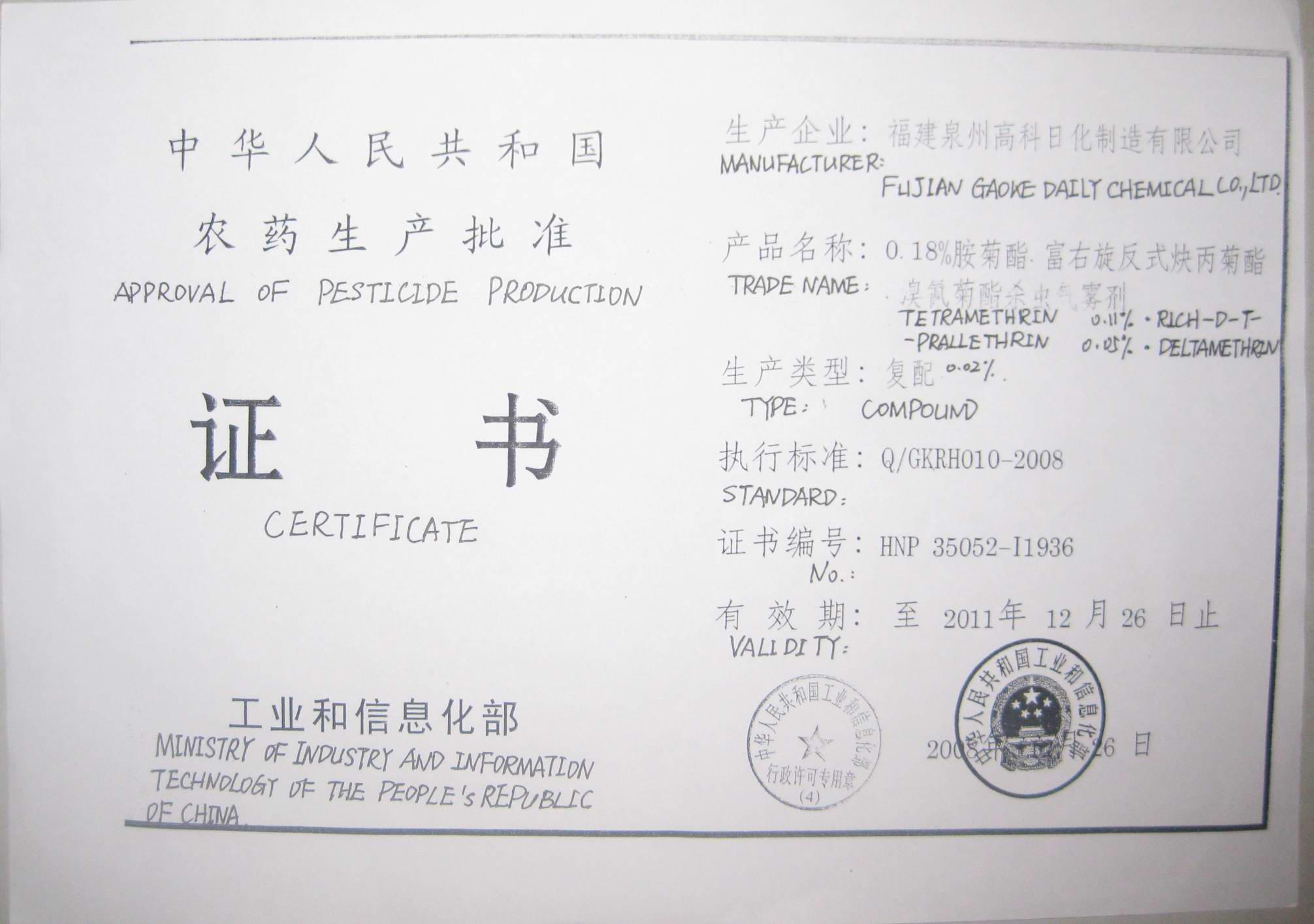 Approval of Pesticide Production Certificate