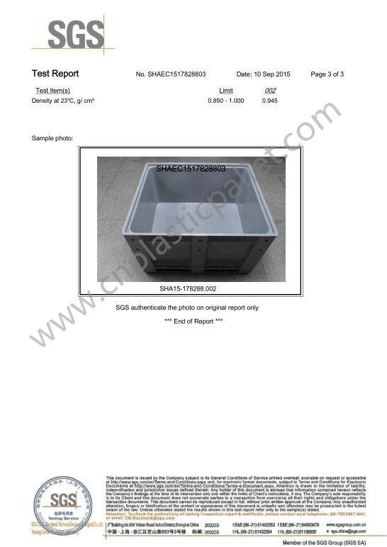 Plastic pallet box food grade SGS -3