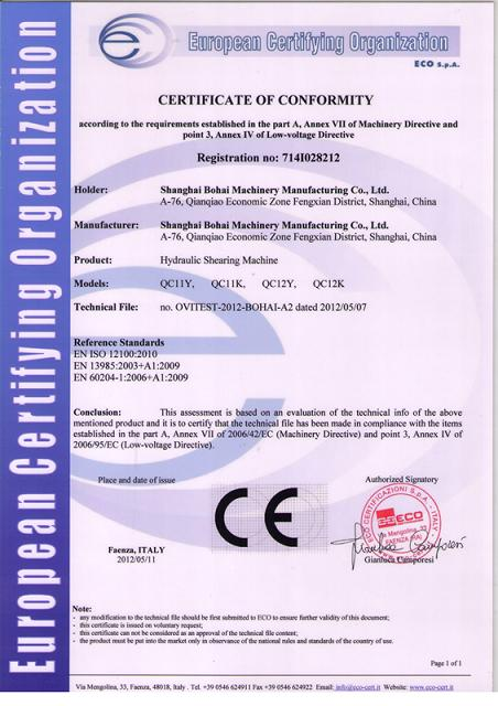CE certificate of Hydraulic Press Brake