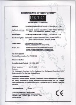 CE Certificate of Fiberglass Ceiling Board