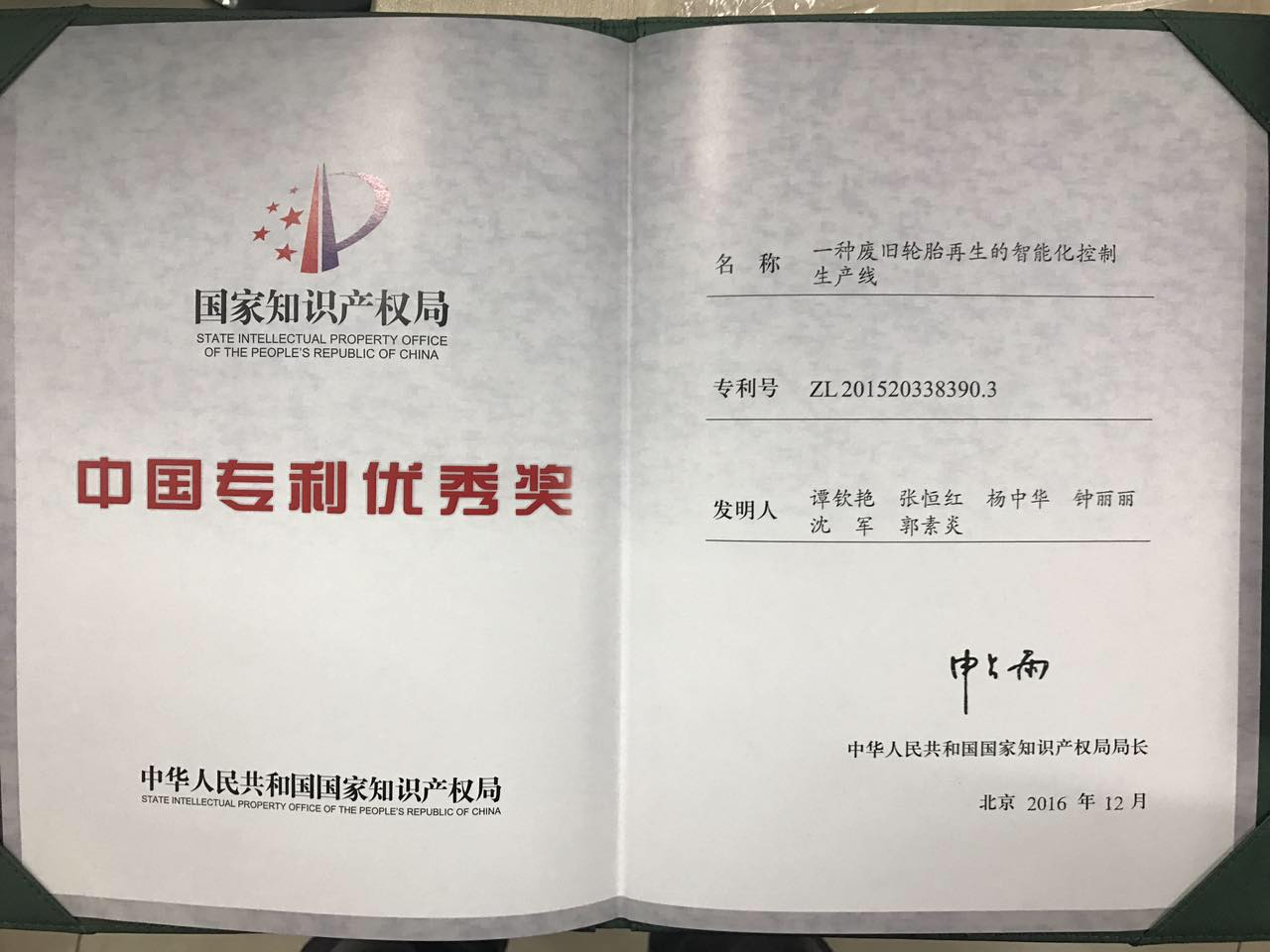 Chinese patent award of excellence