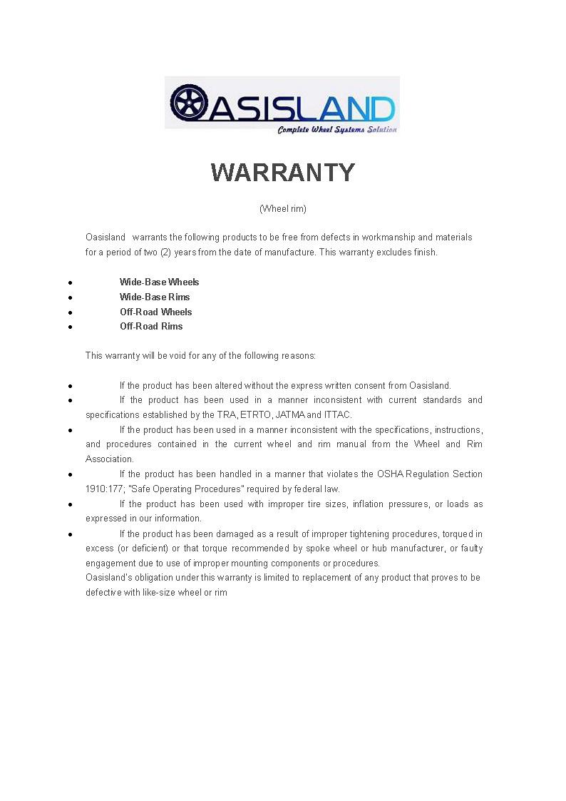 Wheel Rim--Warranty
