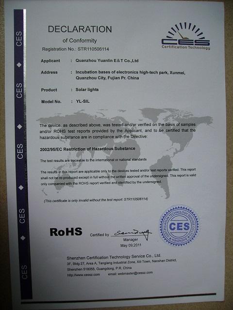 solar light Rohs certificate