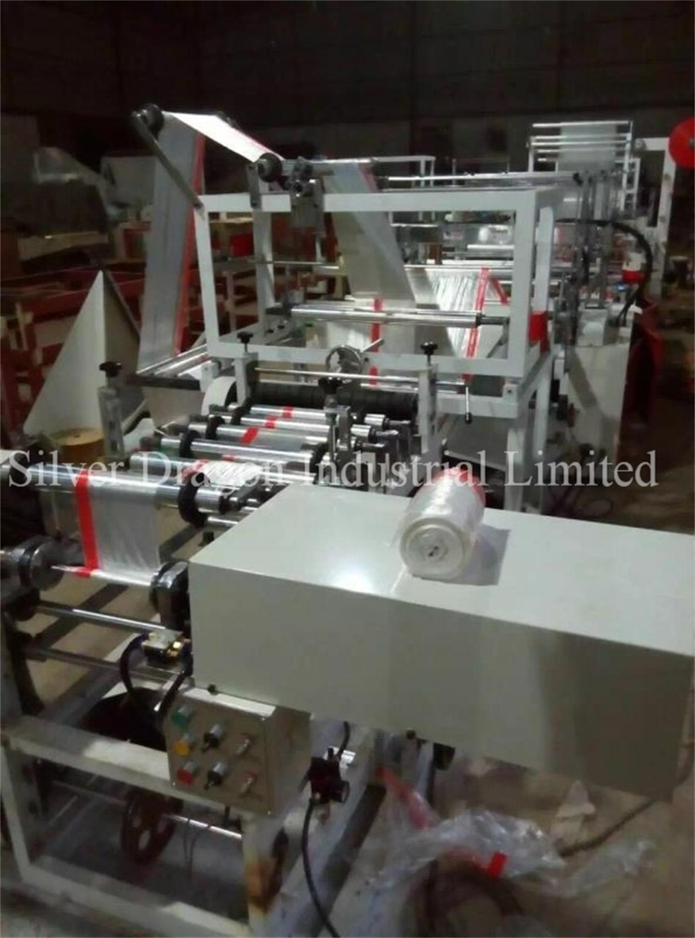 Five automatic drawstring trash bags making machines installed