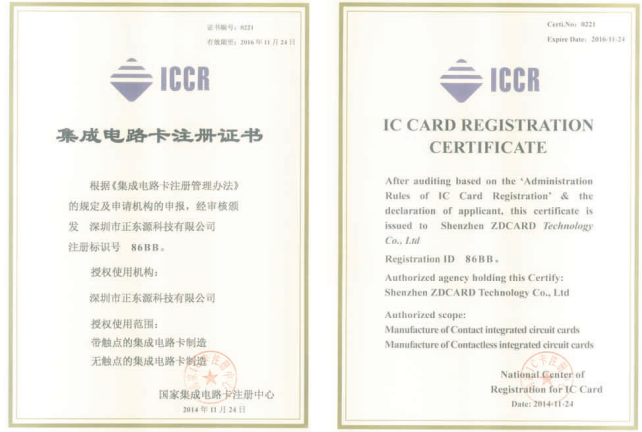 ICCR Card Registration Certificate