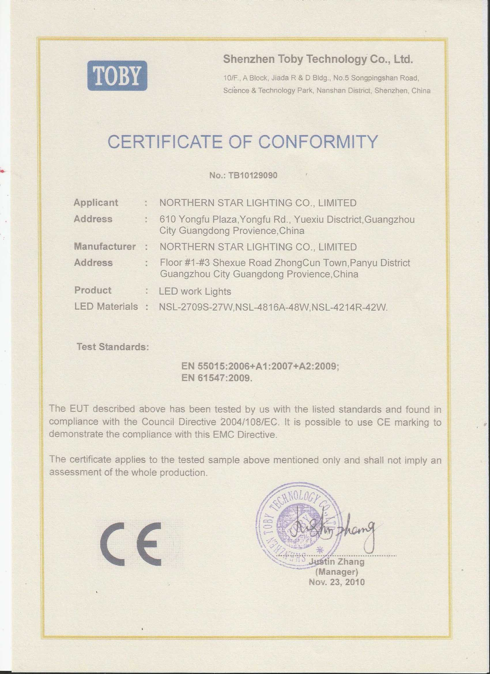 CE certificate of LED work light