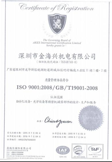 ISO90012008GBT19001-2008 certification
