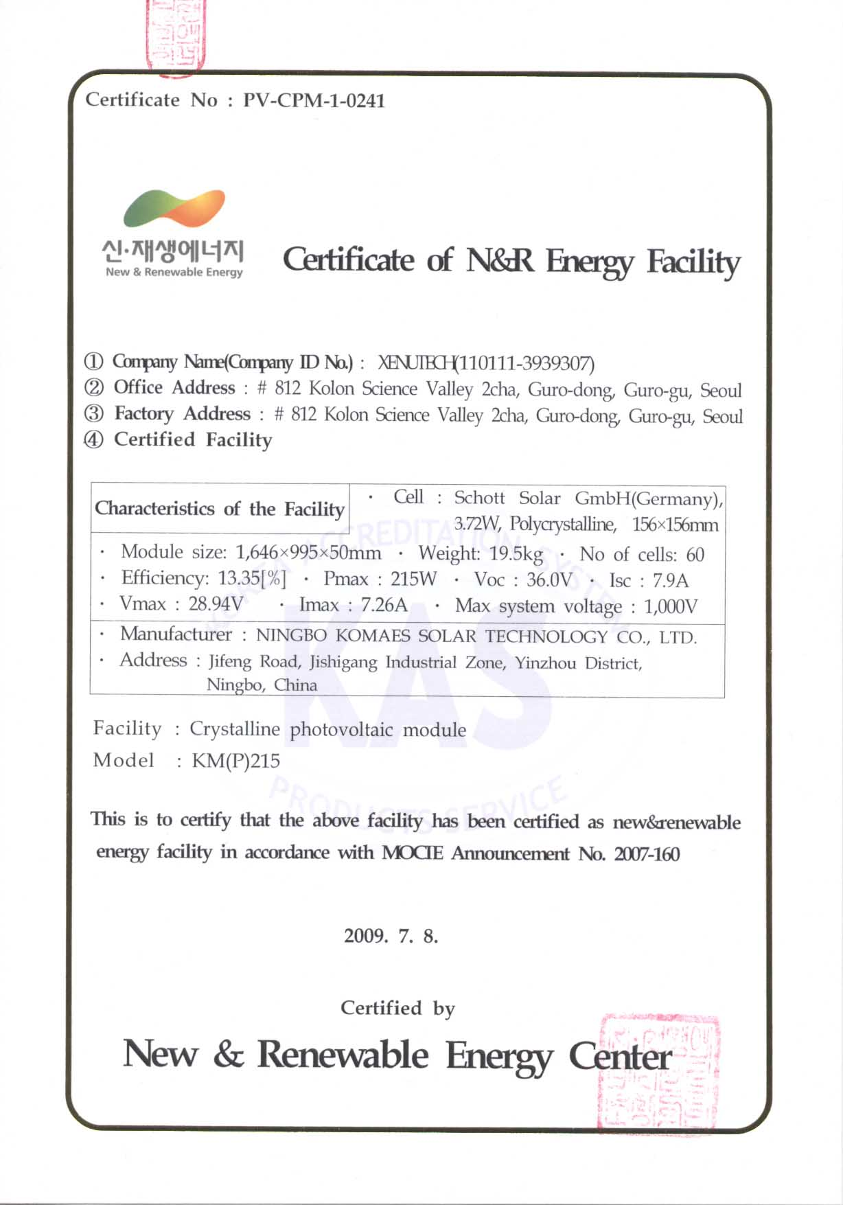 Korea Certificate KM(P)215