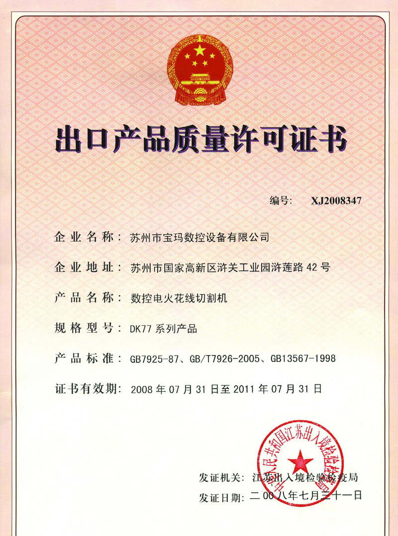 Certificate Of Exporting