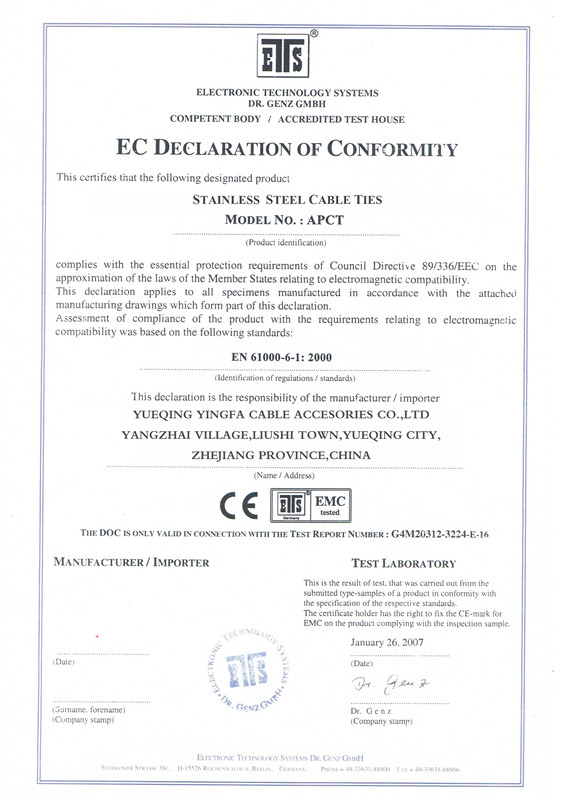 stainless steel cable tie CE certificate