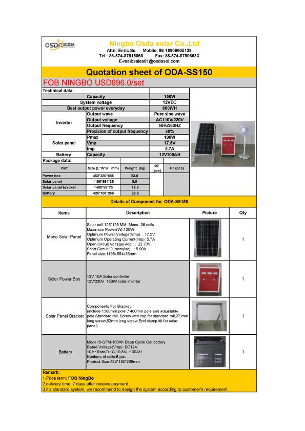Quotation Sheet for Oda-Ss150 off-Grid System - Ningbo Osda Solar ...