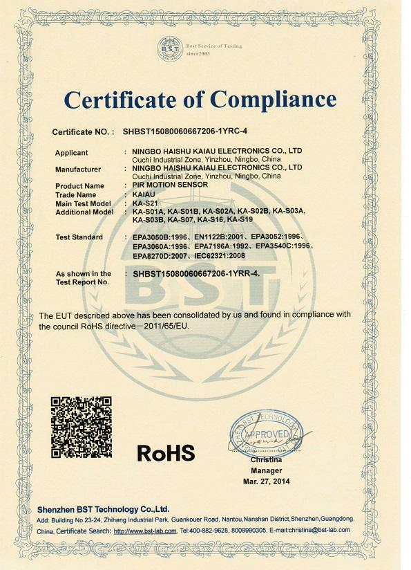 PIR Sensor CE and RoHS certificate