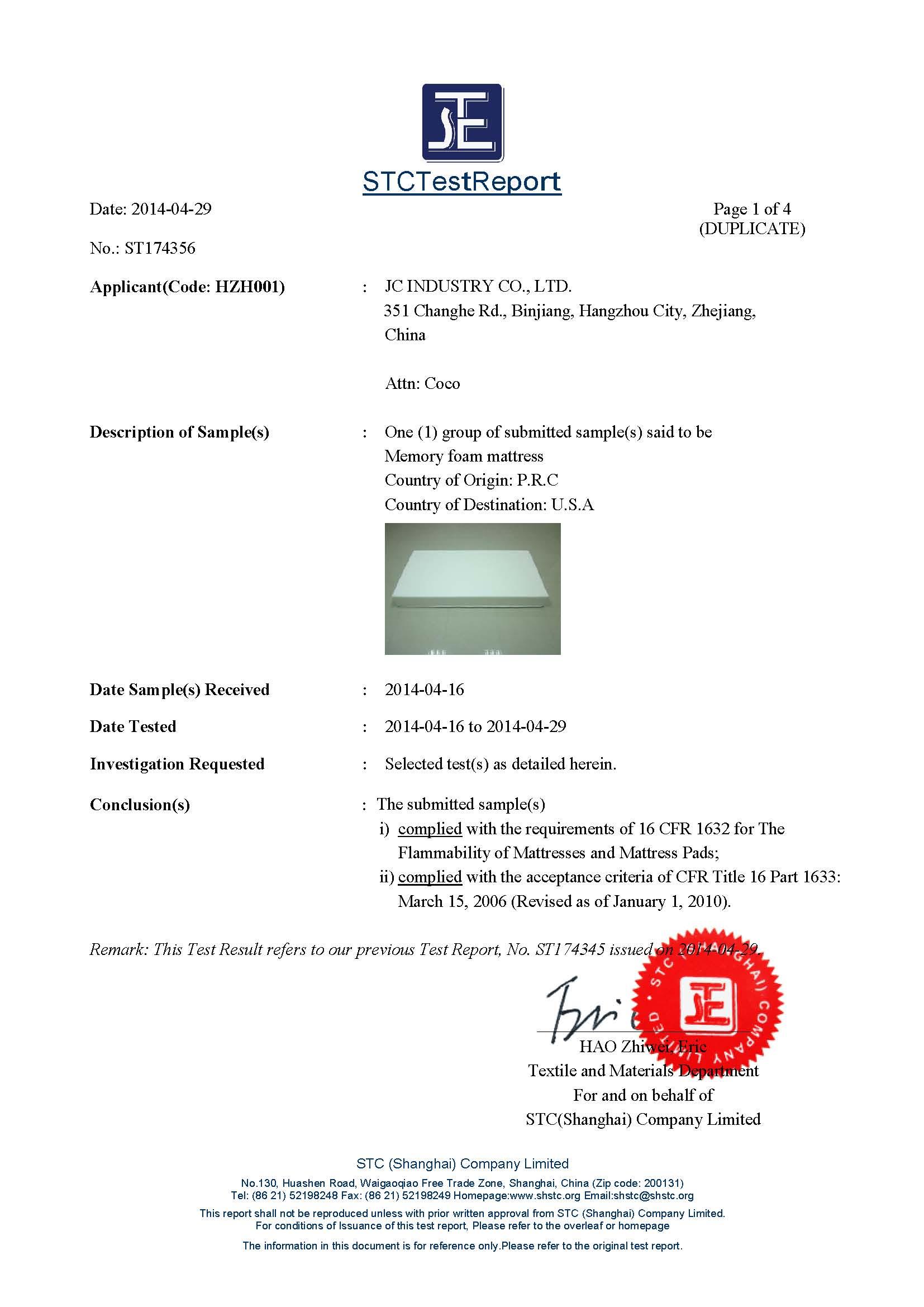 CFR 1633-1622 Certificate