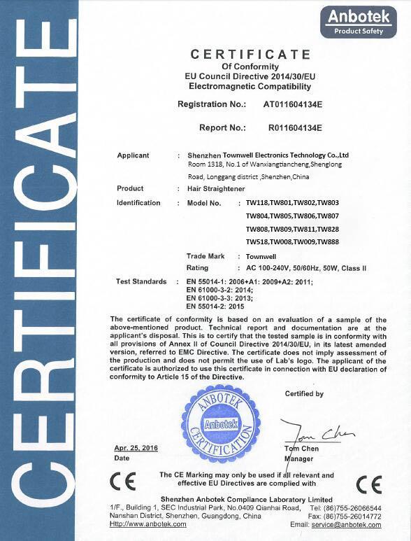 Hair Straightener CE Certificate