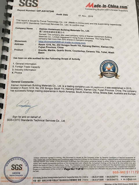 SGS certificate for XIAMEN HOMEMARK
