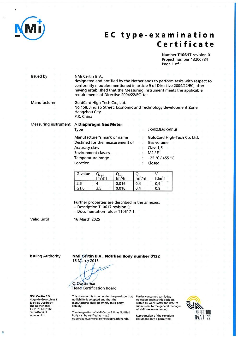 EC type certificate