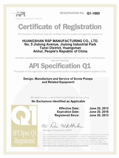 RSP API Q1 Certification