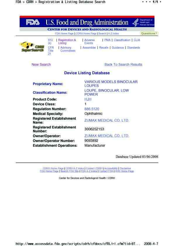FDA Certification of Zumax Loupes