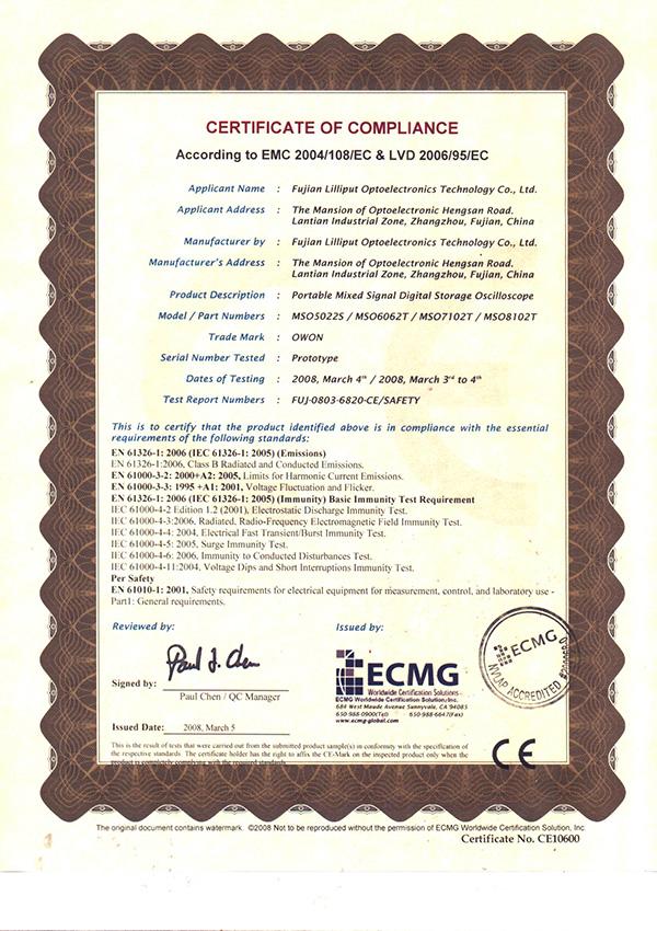 CE Certification of MSO series