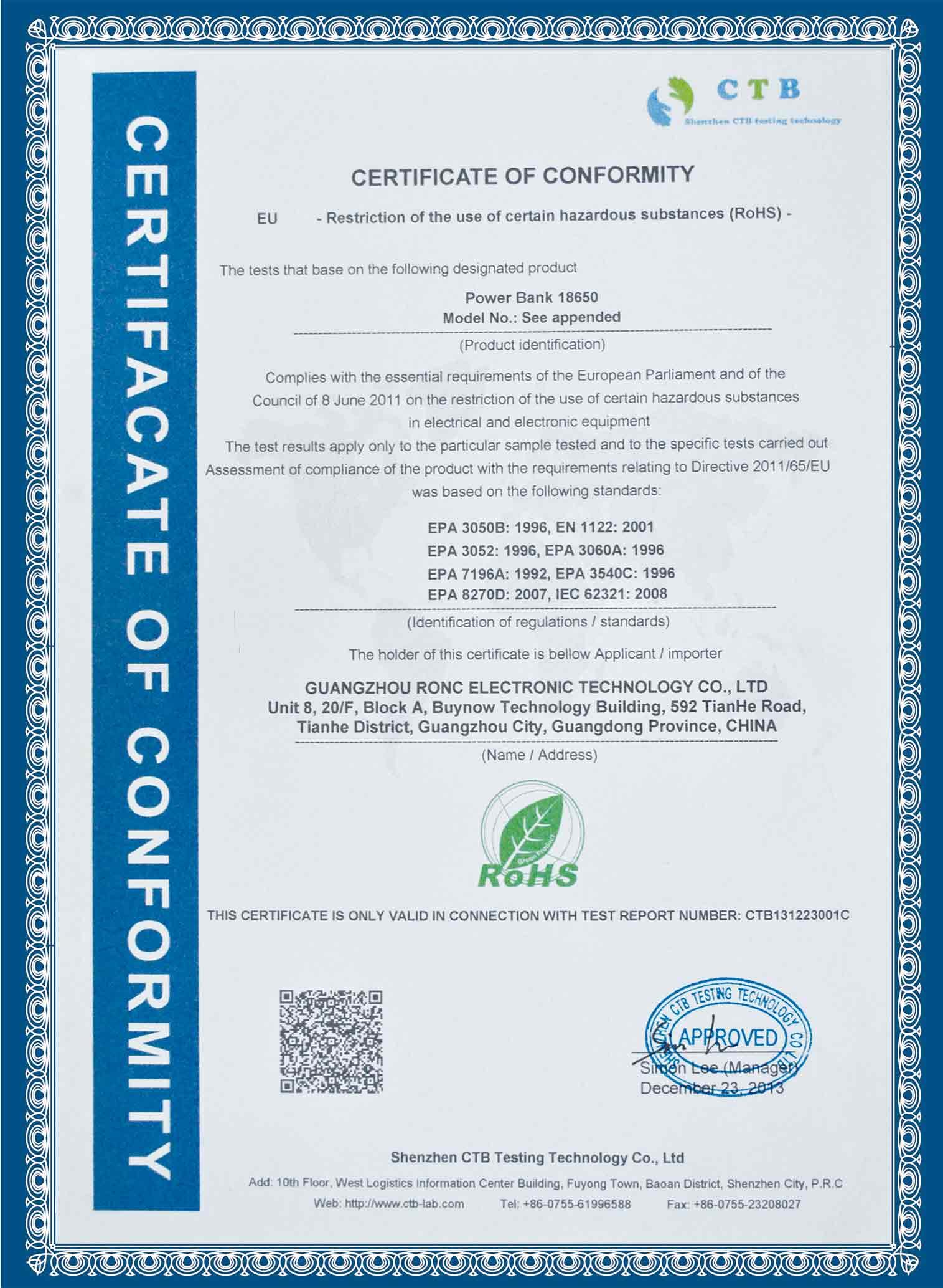 ROHS Certificte